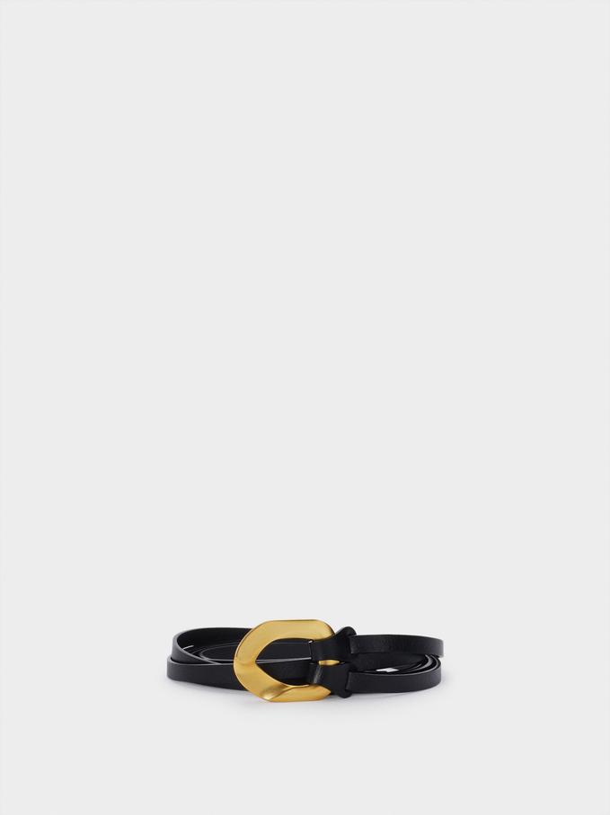 Textured Leather Belt, Black, hi-res