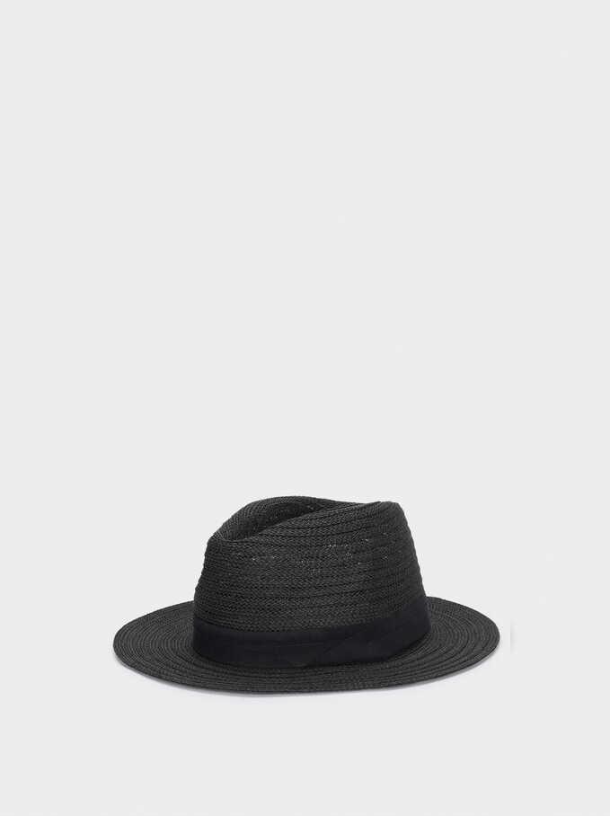 Woven Hat, Black, hi-res