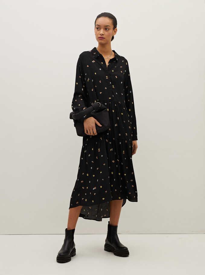 Vestido Estampado Floral, Negro, hi-res