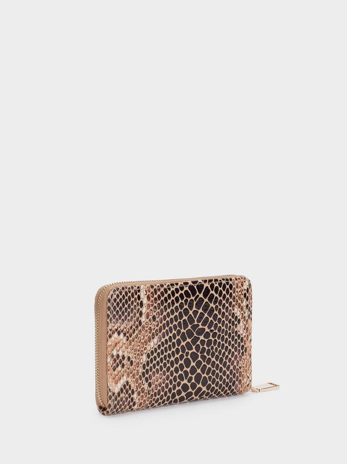 Embossed Animal Print Wallet, Beige, hi-res
