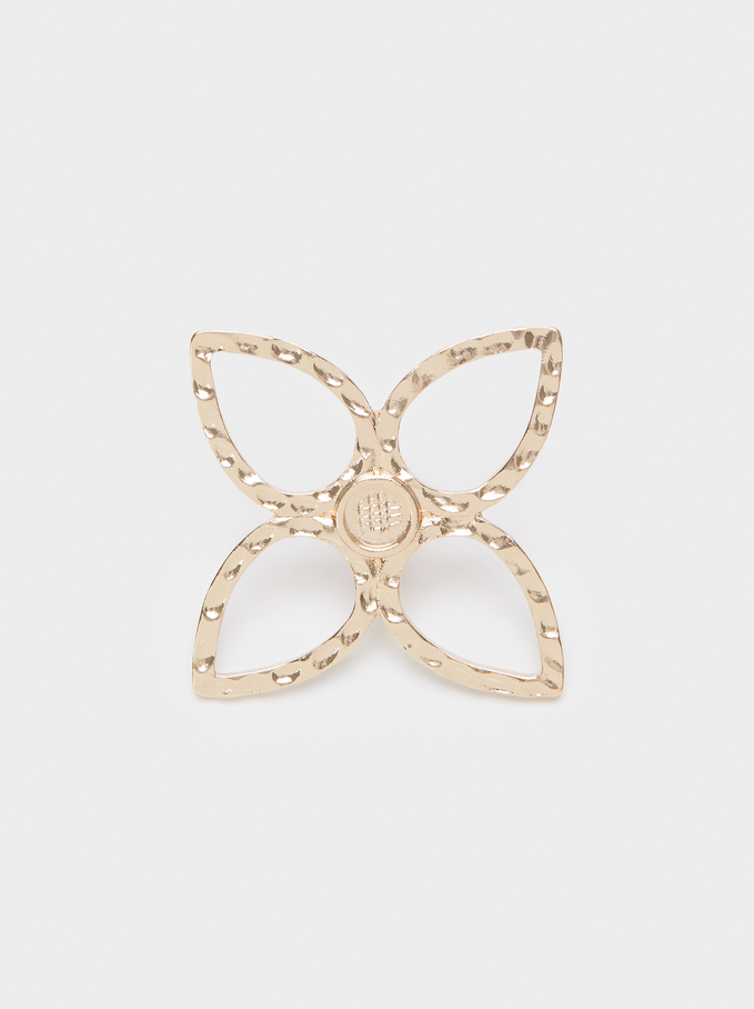 Golden Flower Brooch, Golden, hi-res