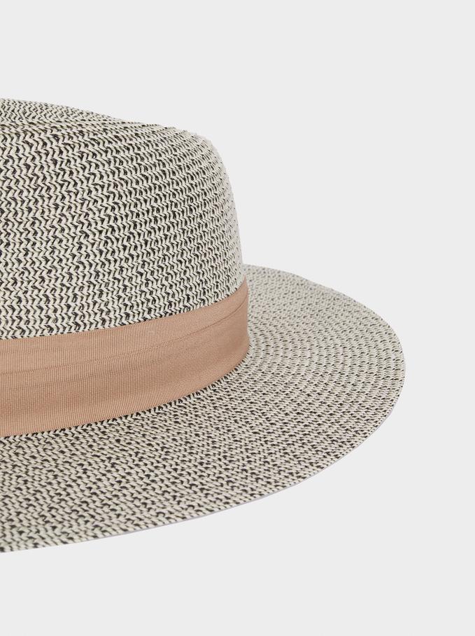 Chapéu De Malha Com Fita Em Contraste, Preto, hi-res