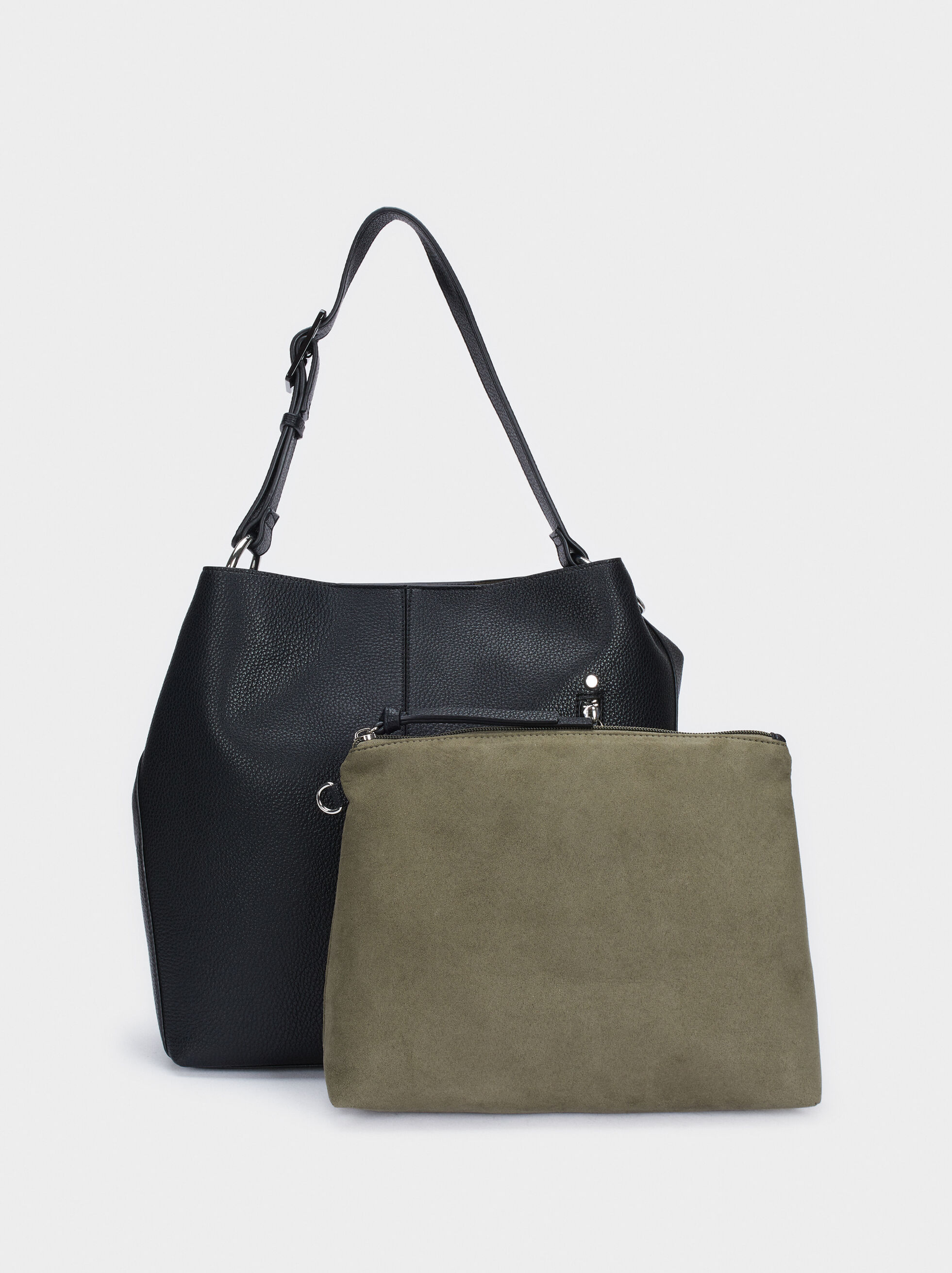 Shoulder Bag With Exterior Pocket, Black, hi-res