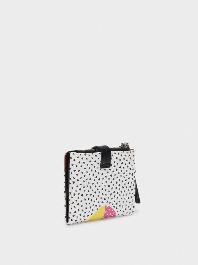 Compact Heart Print Wallet, White, hi-res