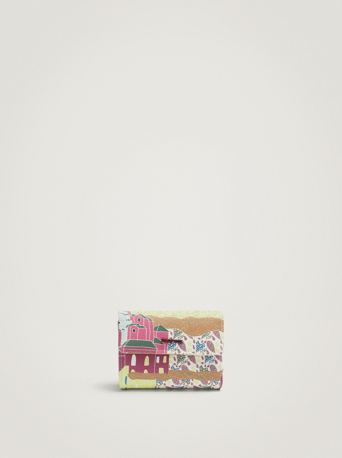 Printed Card Holder With Coin Purse, Bordeaux, hi-res