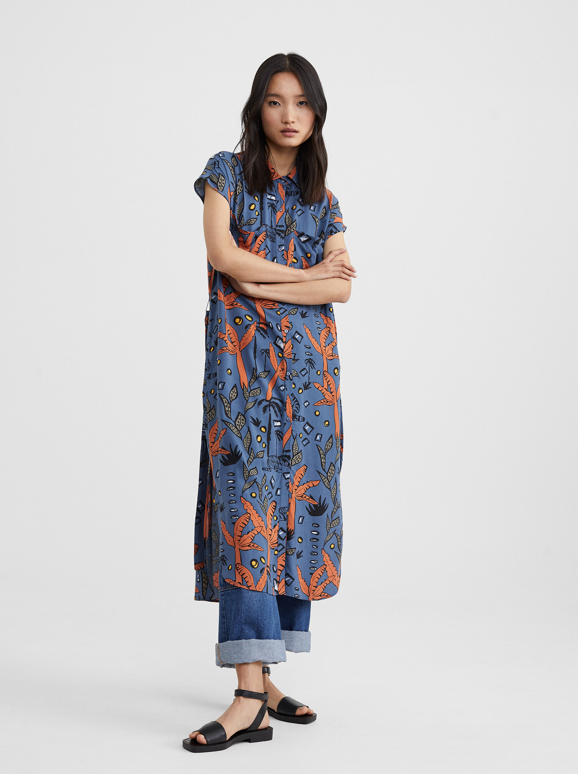 Printed Dress With Belt, , hi-res