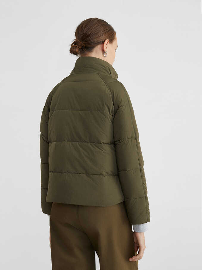 Reversible Quilted Coat, Khaki, hi-res