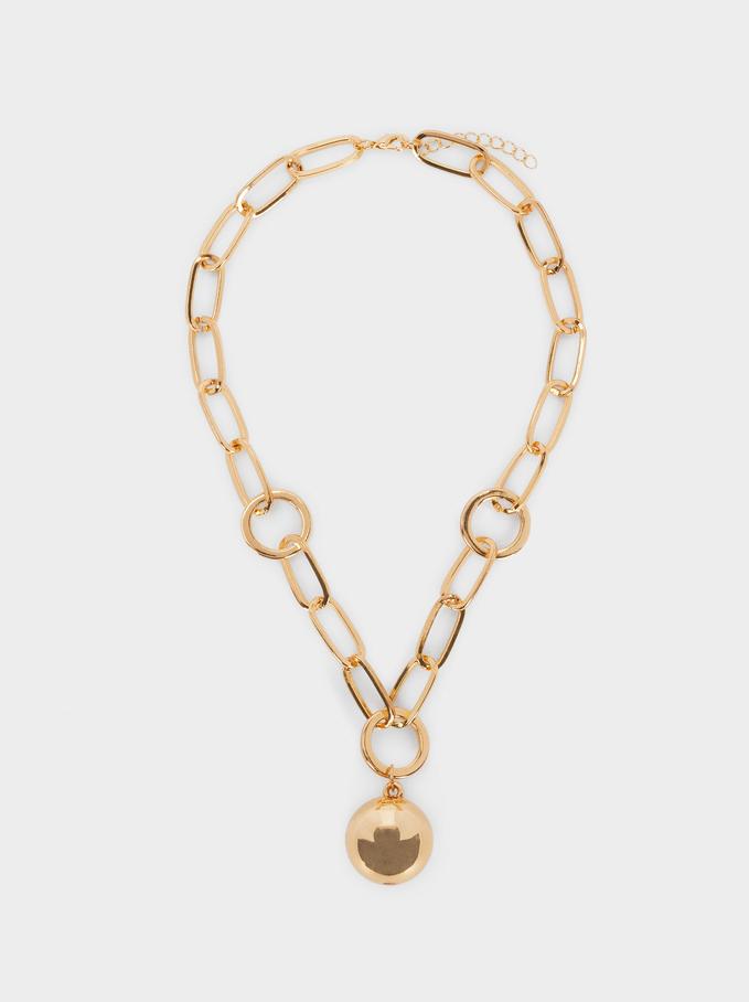 Short Necklace With Pendant, Golden, hi-res