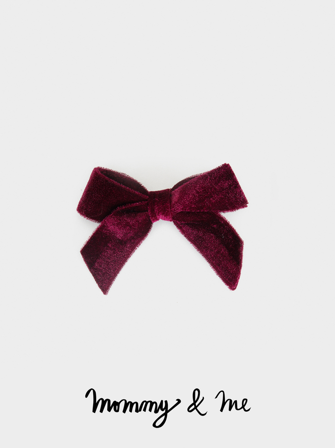 Kid Velvet Hairclip With Bow, Bordeaux, hi-res