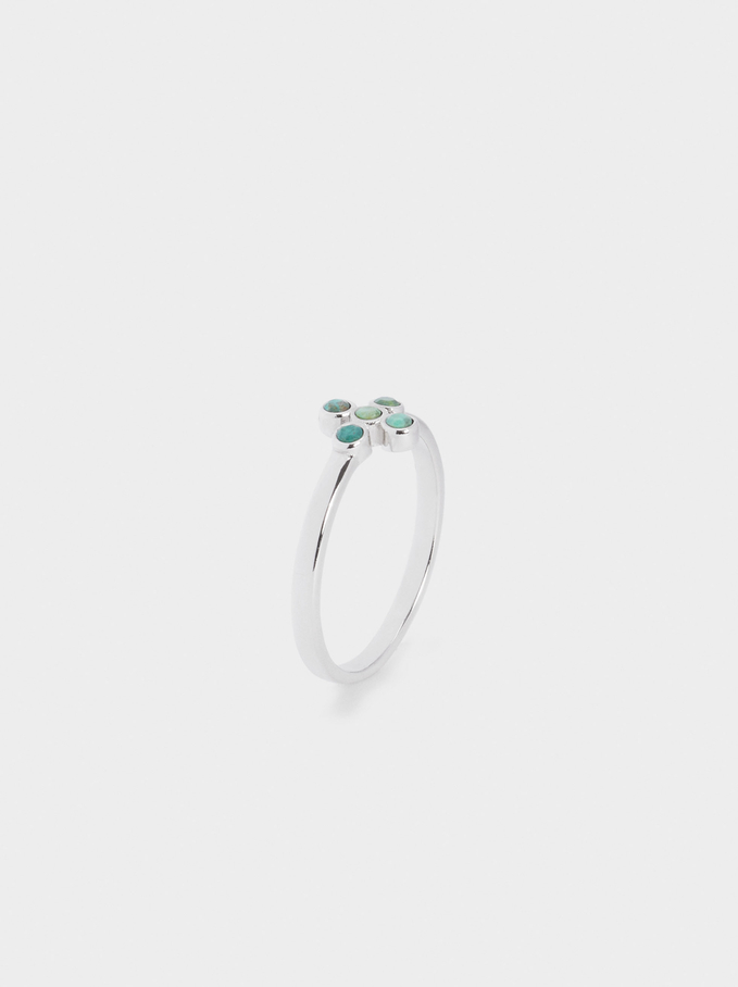 Silver 925 Ring With Stone, Green, hi-res