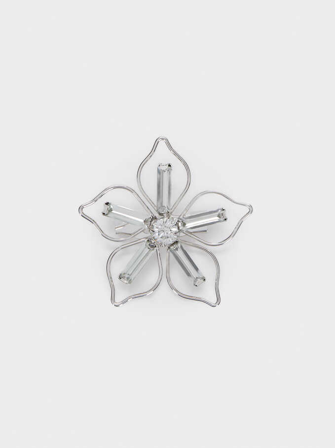 Flower Brooch, Silver, hi-res
