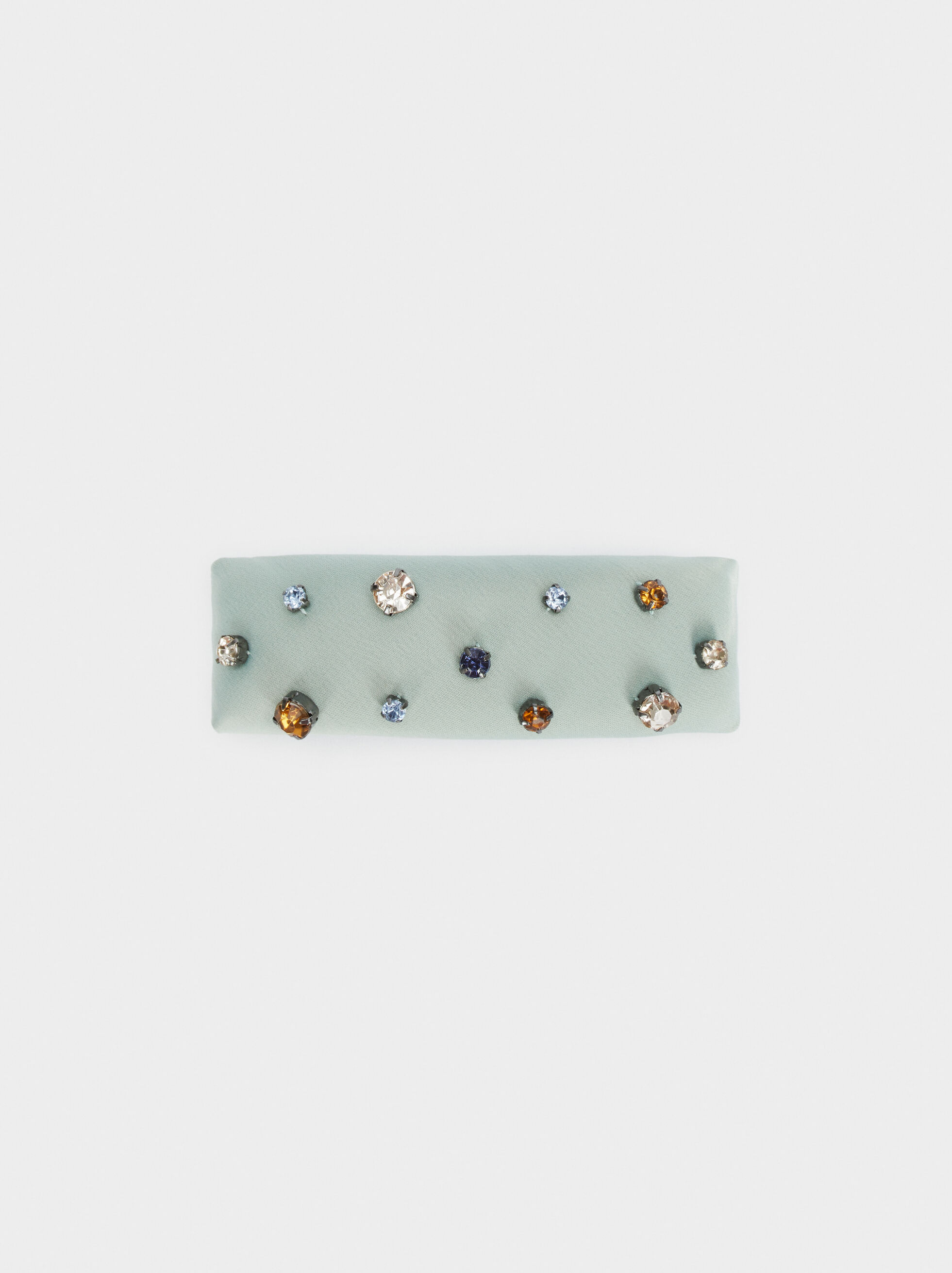 Furry Hairclip With Rhinestones, Green, hi-res