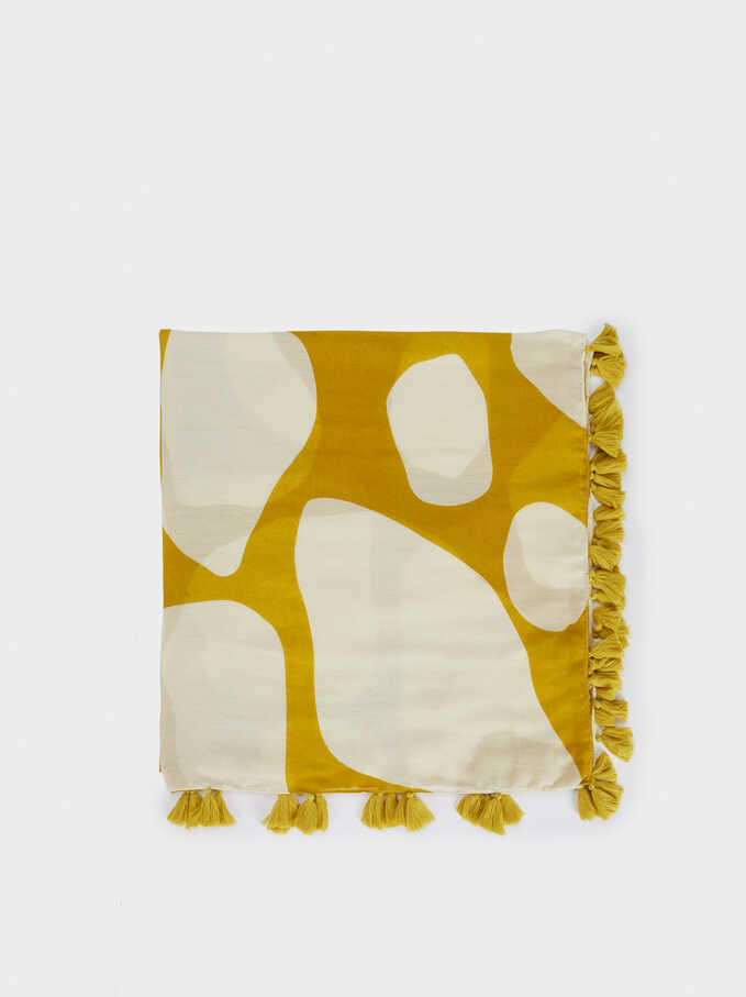 Animal Print Handkerchief With Tassels, Yellow, hi-res