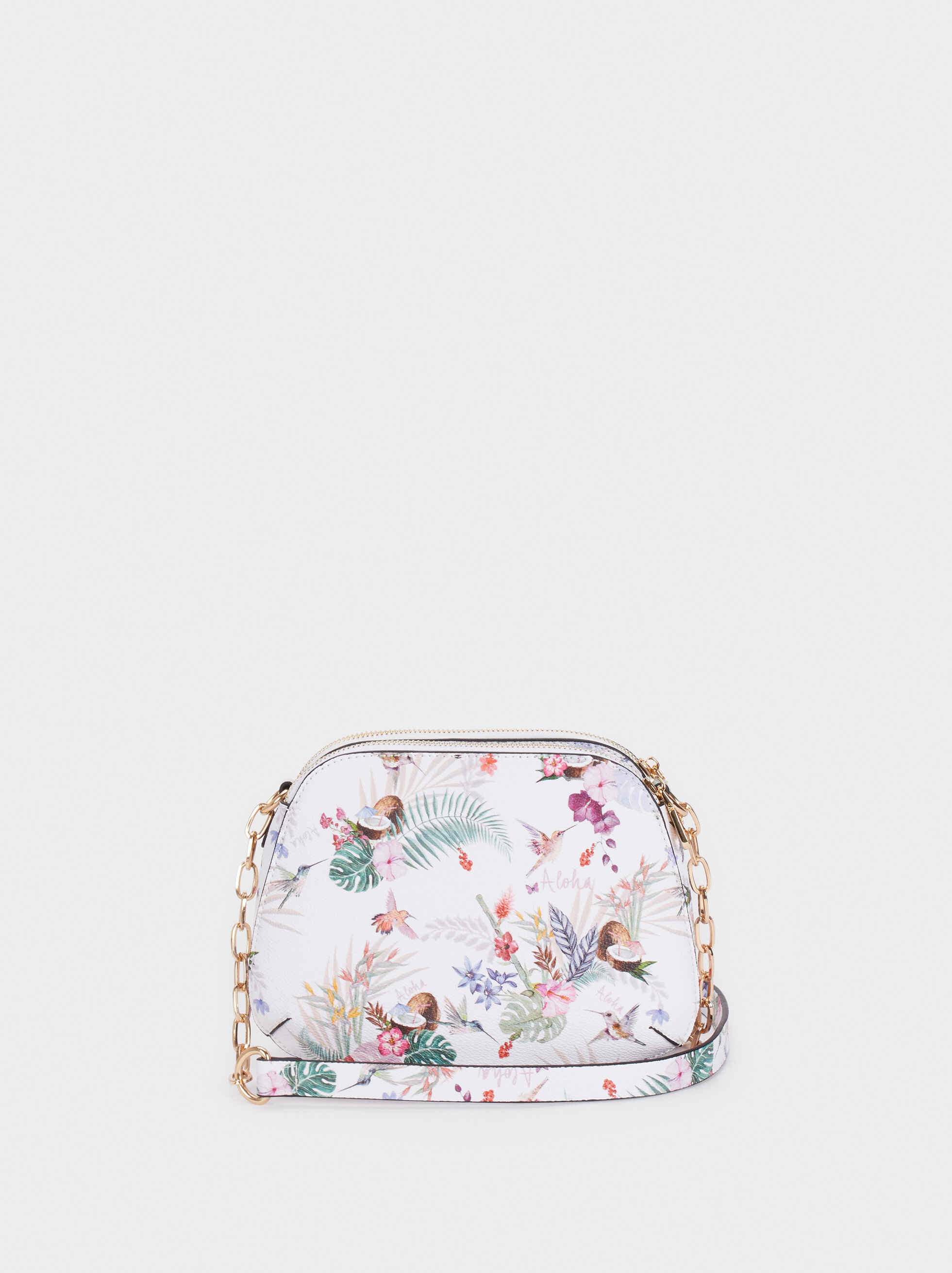 Floral Print Crossbody Bag, Ecru, hi-res