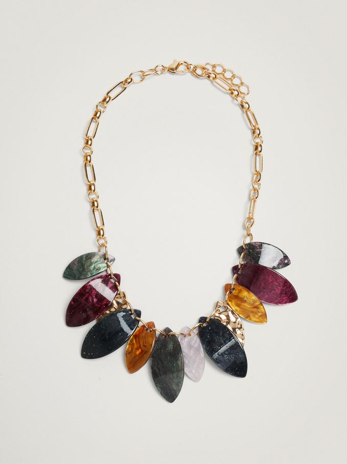 Short Leaf Necklace, Multicolor, hi-res