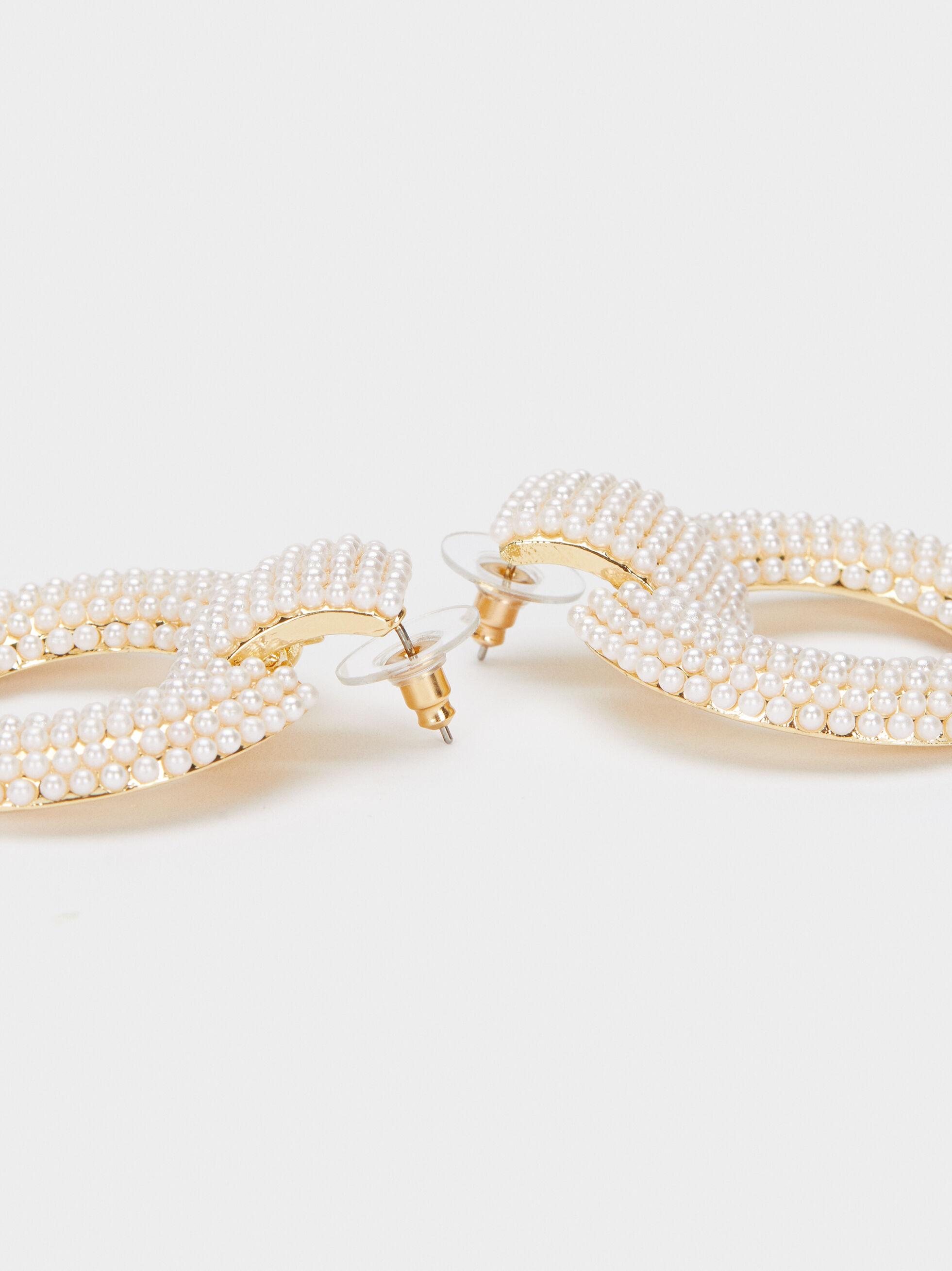 Long Pearl Earrings, White, hi-res
