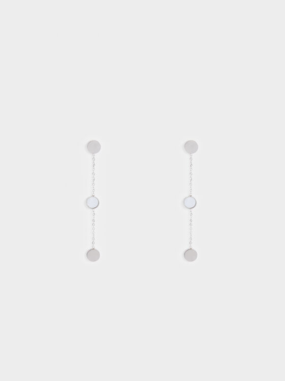 Long Steel Chain Earrings, Silver, hi-res
