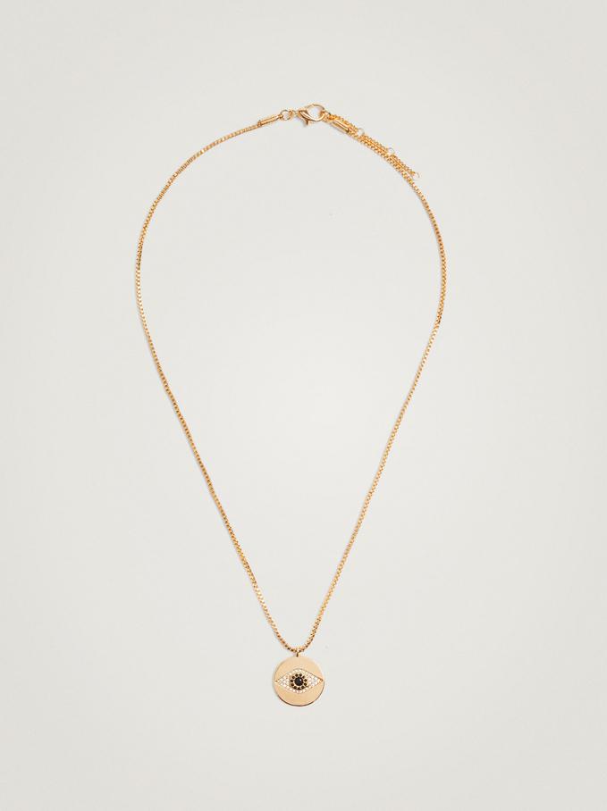 Short Necklace With Eye, Golden, hi-res