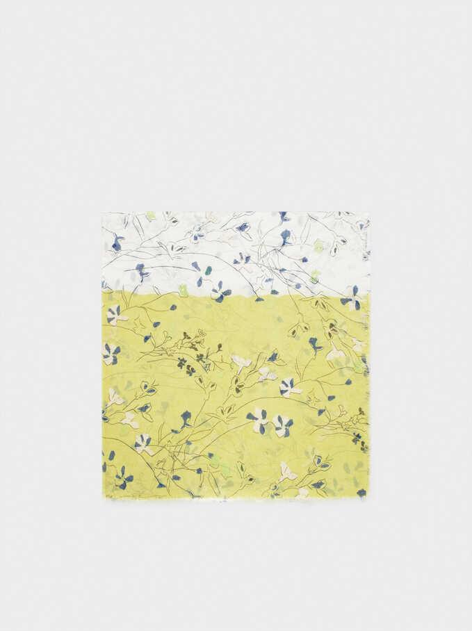 Floral Print Scarf, Yellow, hi-res