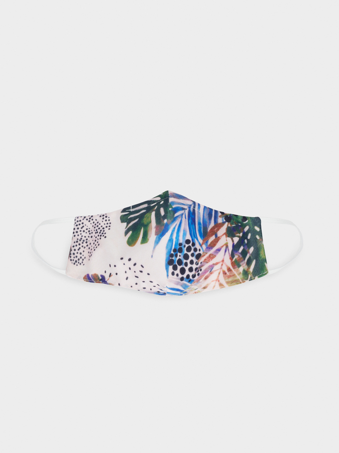 Tropical Print Reusable Face Mask, Green, hi-res
