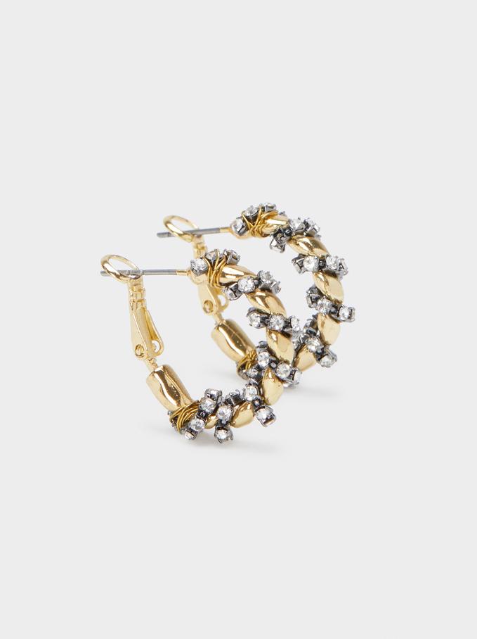 Medium Gold Hoop Earrings, Black, hi-res