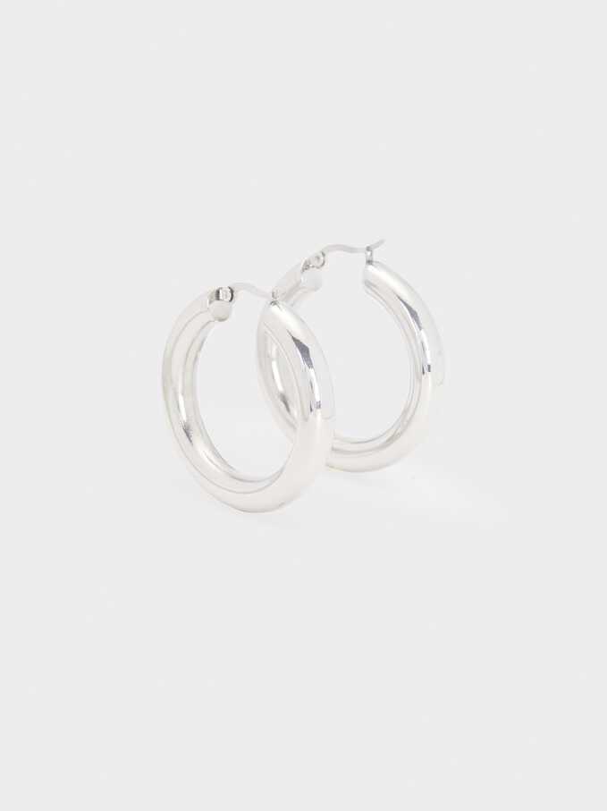 Golden Stainless Steel Hoop Earrings, Silver, hi-res