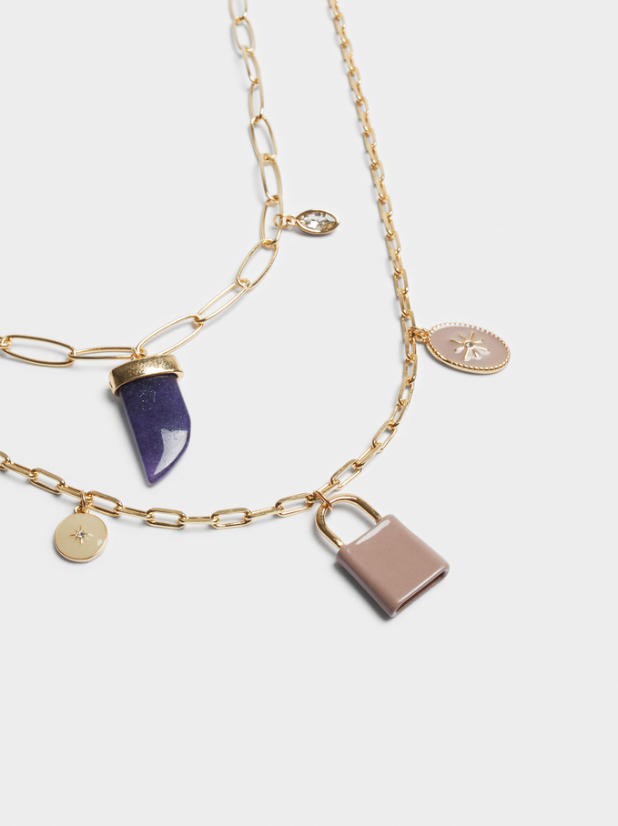 Set Of Contrast Necklaces With Charms, Multicolor, hi-res