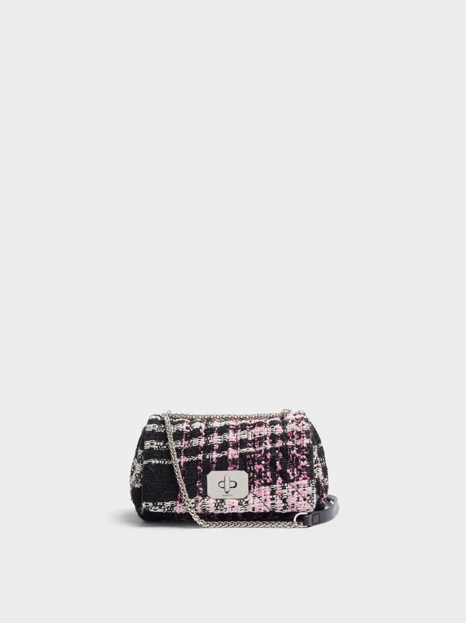 Textured Crossbody Bag With Chain Handle, Bordeaux, hi-res