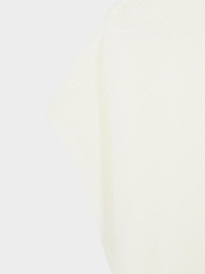 Maglia Di Filo Scollo A V, Bianco, hi-res
