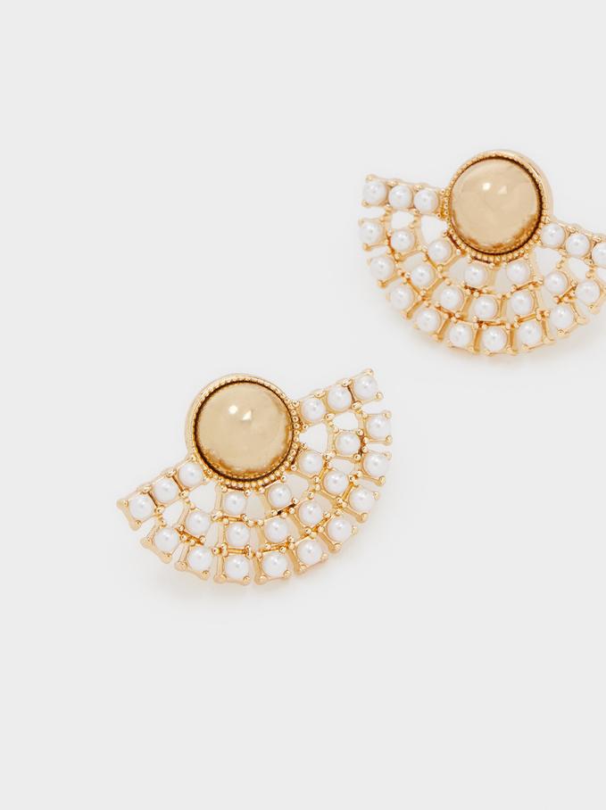 Short Gold Metal Earrings, Golden, hi-res