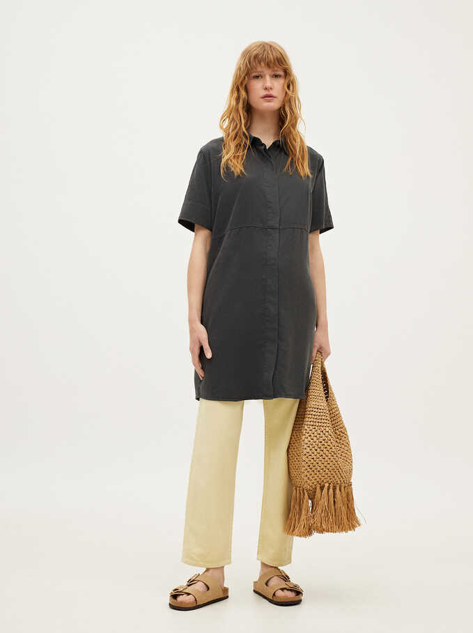 Lyocell Shirt Dress, Black, hi-res
