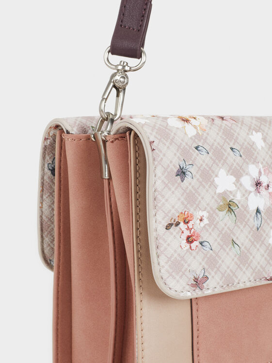 Crossbody Bag With Floral Print Flap, Ecru, hi-res