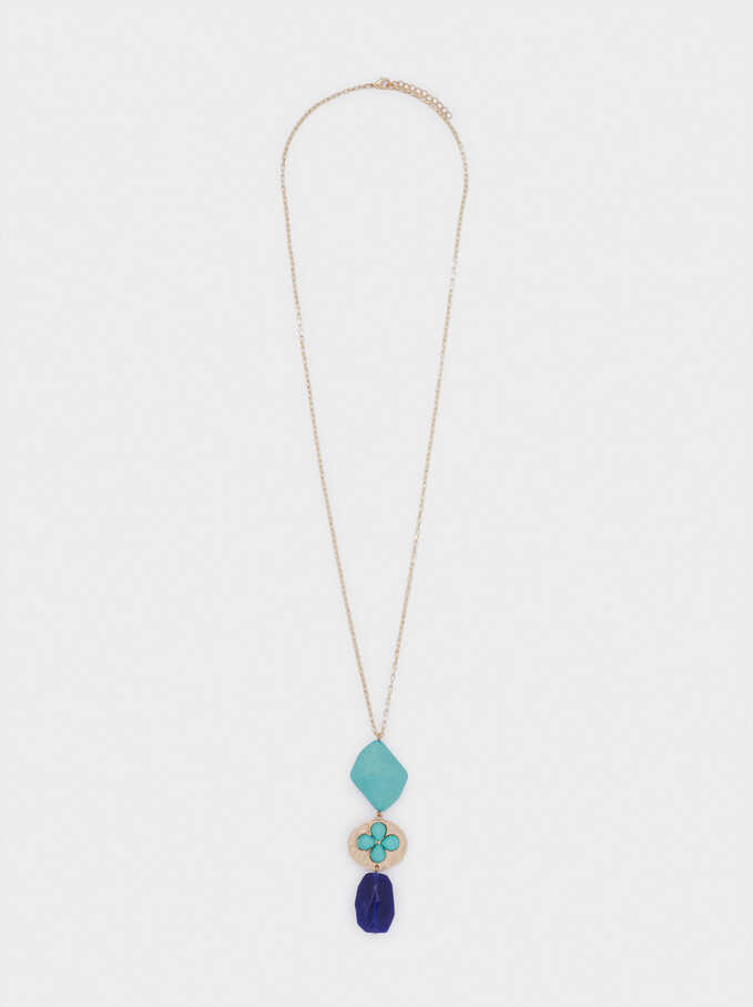 Long Necklace With Stones, Blue, hi-res