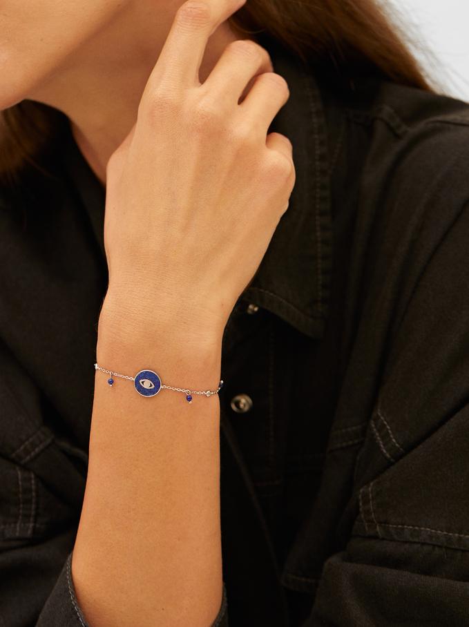 Adjustable 925 Silver Stone And Eye Bracelet, Blue, hi-res