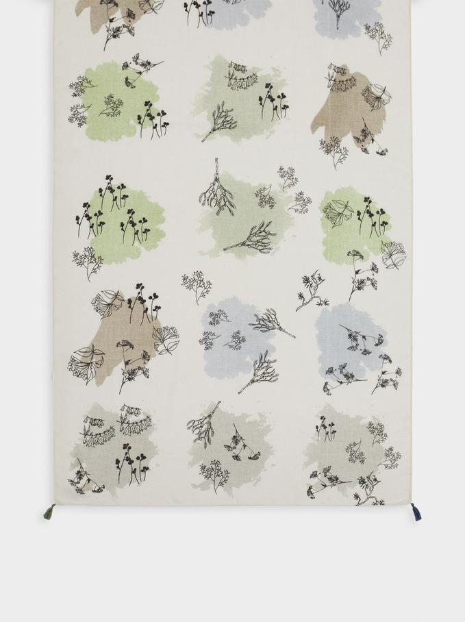 Pañuelo Estampado Fabricado Con Materiales Reciclados, Azul, hi-res