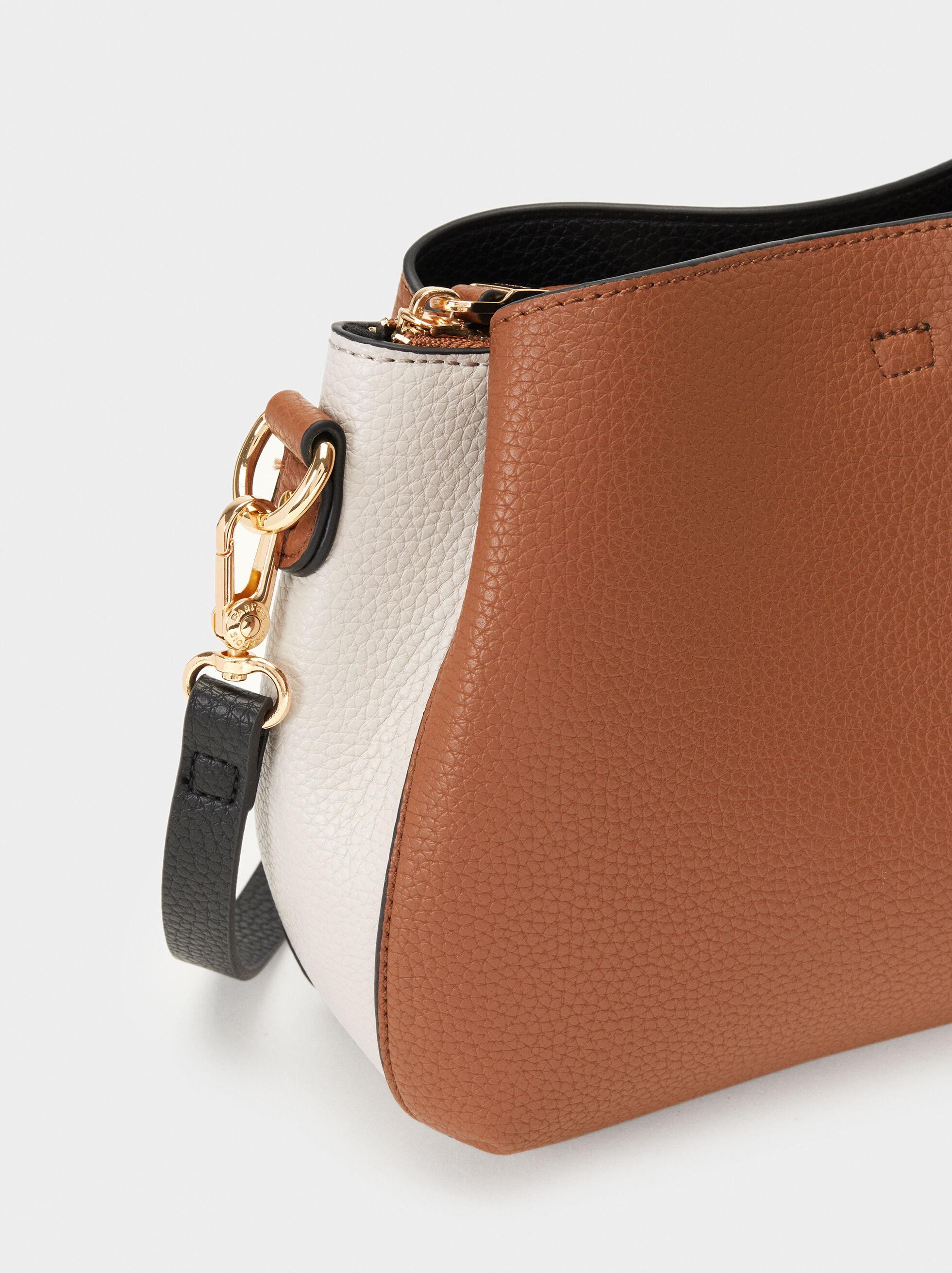 Embossed Shoulder Bag, Camel, hi-res