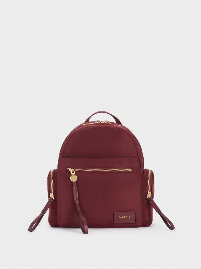 Nylon Backpack With Outside Pockets, Bordeaux, hi-res
