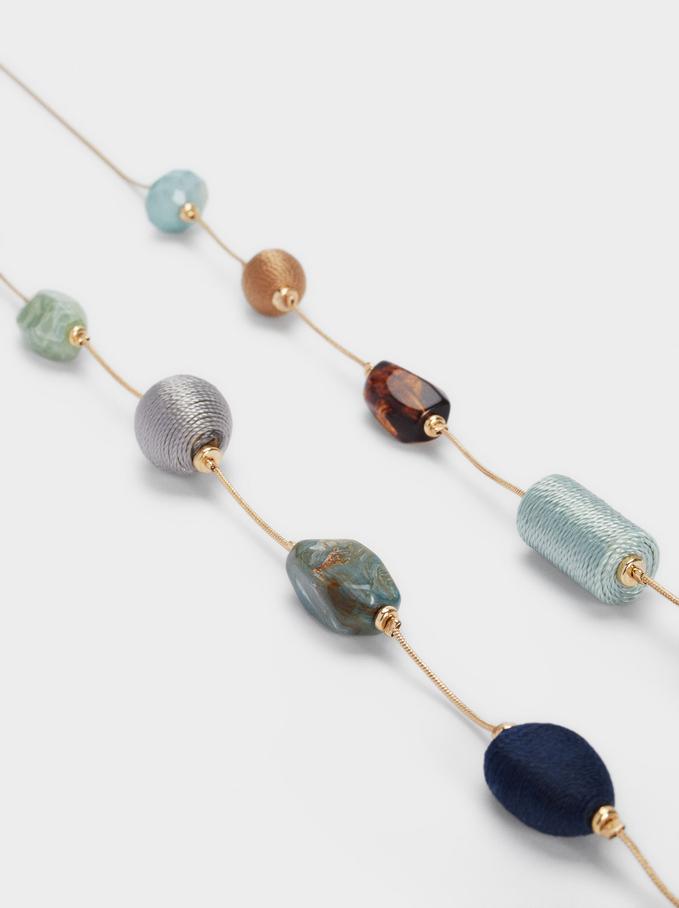 Collana Lunga Con Perline, Multicolore, hi-res