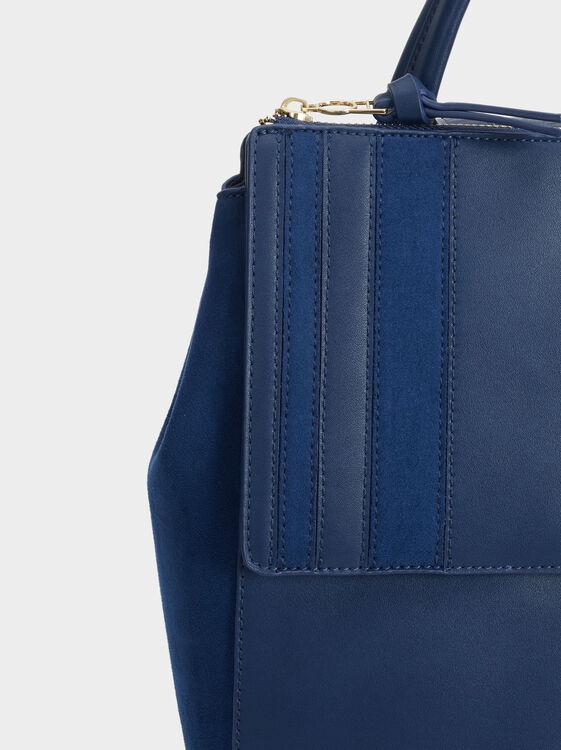 Patchwork Backpack, Navy, hi-res