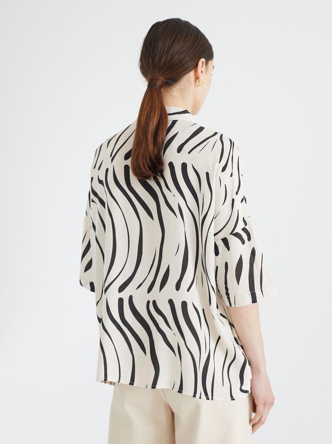 Animal Print Oversized Shirt, Ecru, hi-res