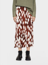 Printed Pleated Skirt, Brick Red, hi-res