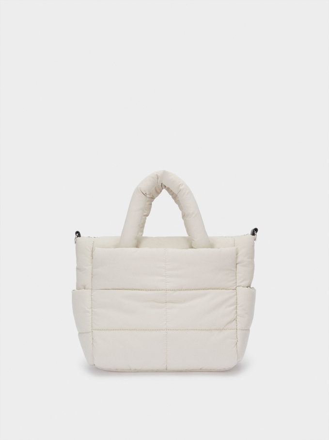 Quilted Nylon Tote Bag, White, hi-res