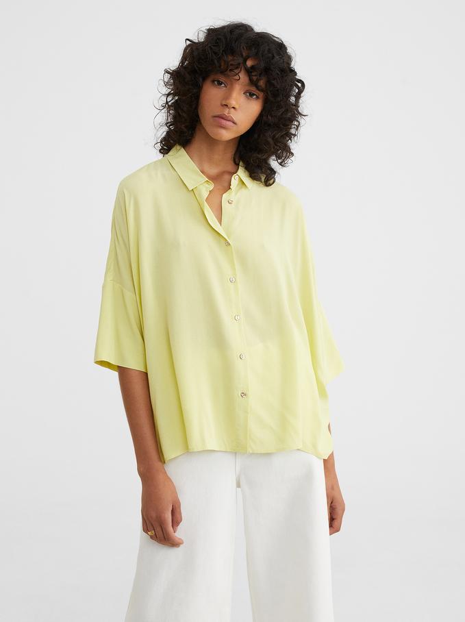 Plain Oversized Shirt, Yellow, hi-res