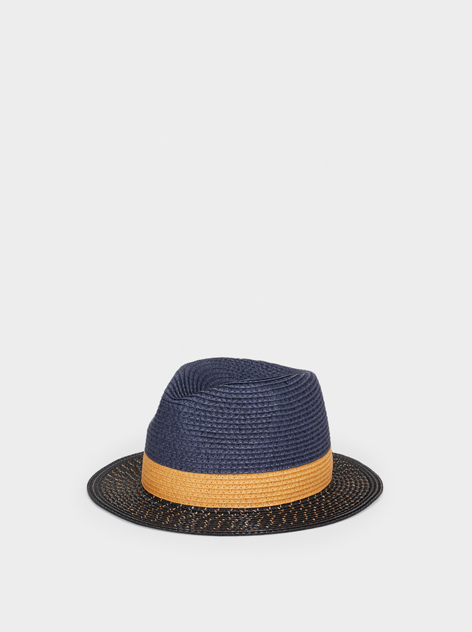 Straw Finish Hat , Blue, hi-res