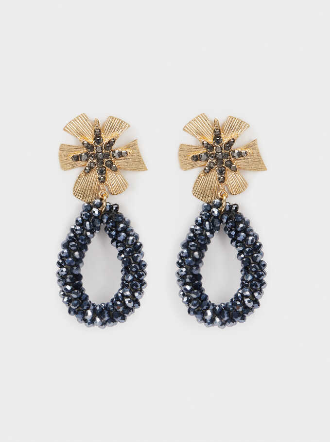 Long Flower Earrings With Crystals, Blue, hi-res