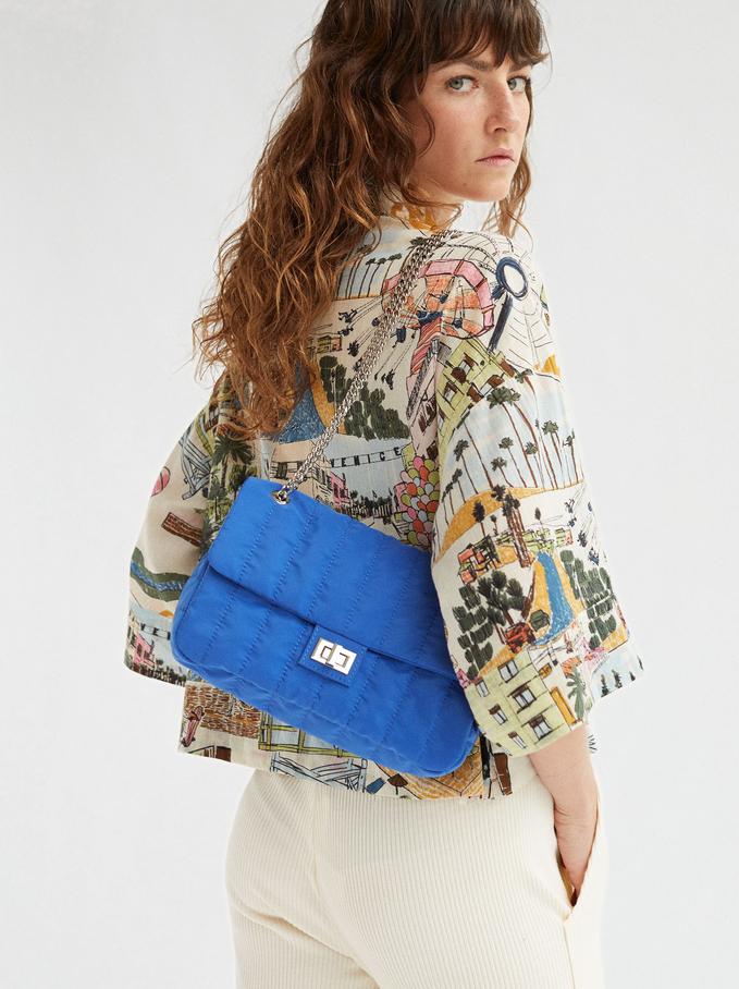 Sac À Bandoulière Matelassé En Nylon, Bleu, hi-res