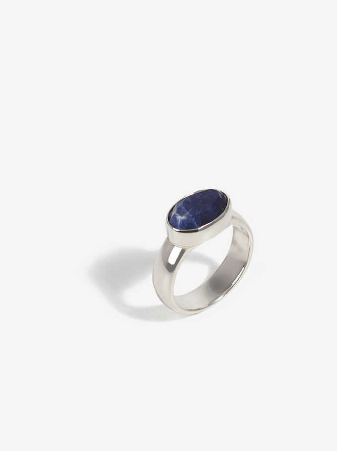 925 Sterling Silver Ring, Blue, hi-res