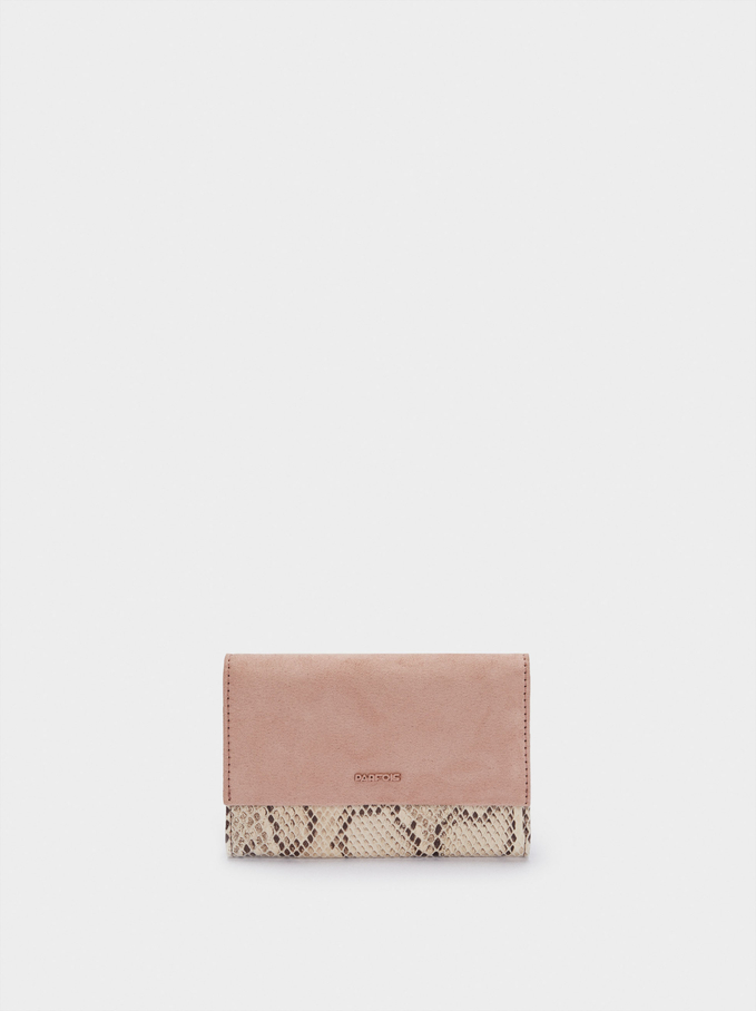 Embossed Animal Print Compact Purse, Pink, hi-res