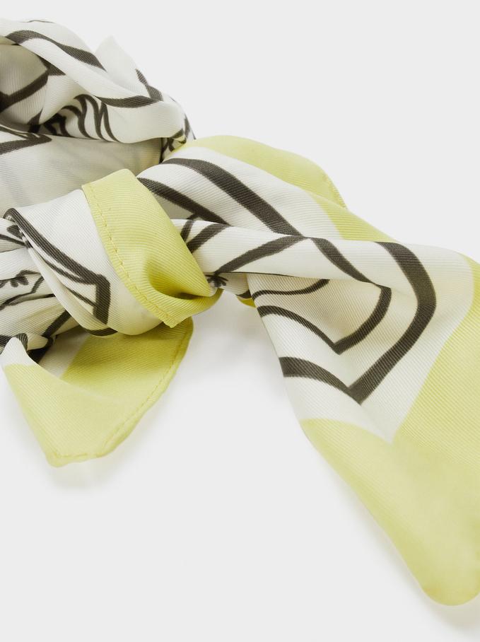 Pañuelo Cuadrado Estampado Fabricado Con Materiales Reciclados, Crudo, hi-res