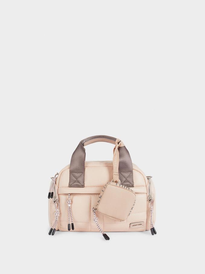 Quilted Tote Bag With Shoulder Strap, Pink, hi-res